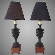 Pair of 19th Century Turned Architectural Fragments Now as Lamps