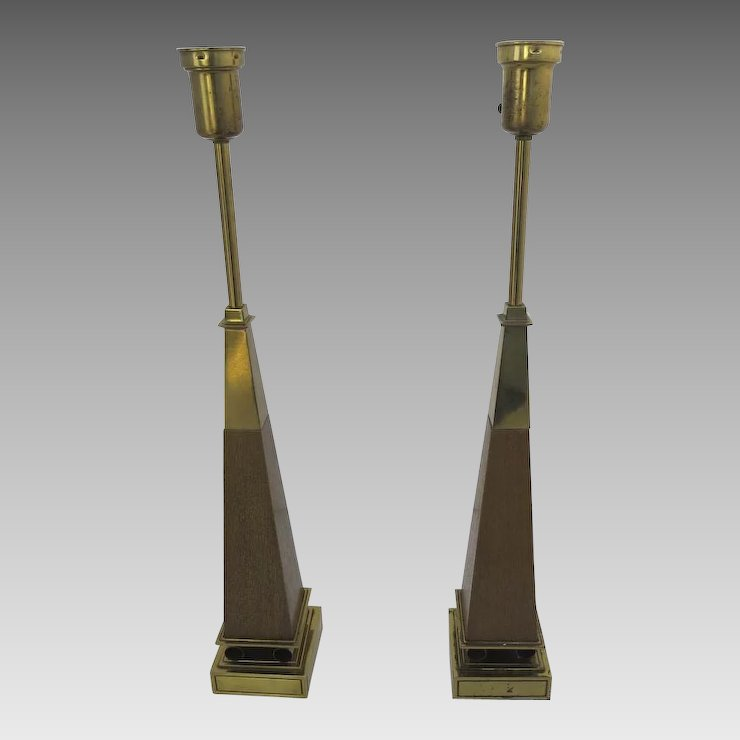 Pair Of Mid Century Table Lamps By Stiffel Brass Wood