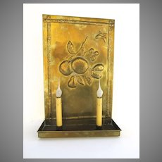 Brass Repousse Two Arm Wall Sconce Butterflies
