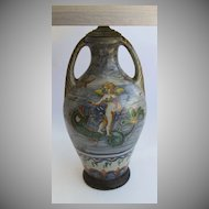 Italian Polychrome Two Handled Pottery Vase Now as a Lamp Angel & Dolphin