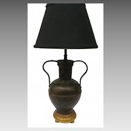 Beautiful Planished Copper Two Handled Urn Lamp