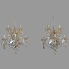 Pair of Large Crystal Sconces with Bead Crystal Swags Chrome Back Five Arms