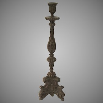 Italian Carved Walnut Tall Candlestick 30""