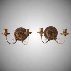 Pair of 19th Century European Gilt Carved Wood Sconces