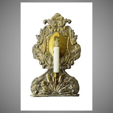 19th Century Italian Brass Repousse Sconce
