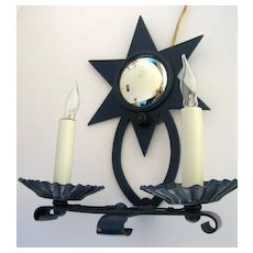 Vintage 1950's Blue Painted Two Arm Iron Sconce Star with Convex Mirror.
