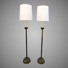 Pair of Mellon Ribbed Brass Mid Century Floor Lamps