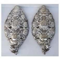 Pair of Silvered Tin Pierced Alter Shades Sconces Palmettes