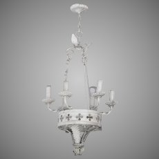Vintage Iron Painted 6 Light Chandelier