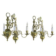 Pair of English Fine Quality Antiques Brass Hanging Sconces with the Original Back Brackets