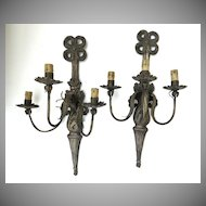 Pair of Repousse French Wall Sconces Ribbon Acanthus Leaf