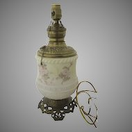 Painted Milk Glass Oil Lamp