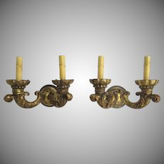 19th Century Pair of French Carved and Gilt Wood Wall Sconces with Acanthus Leaf Motif