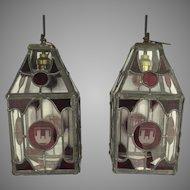 Pair of Vintage English Red Leaded Glass Lanterns Heraldic Motif