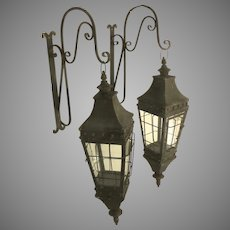 Pair of Vintage Wall Mounting Hanging Lanterns with Brackets