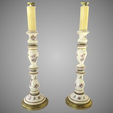 Pair of French Porcelaine de Paris Table Lamps Chinese Export Style