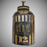 English Chinoiserie & Rope Decorated Tole Tea Canister Now as a Lamp #12