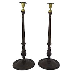 Pair of English Regency Style Candlesticks Mahogany and Brass Cups c 1900