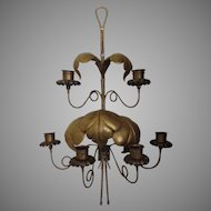 Italian Mid Century Hammered Brass Leaf Motif Candle Wall Sconce