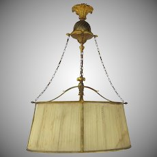 French Oval Four Light Gilt Bronze Ormolu Chandelier