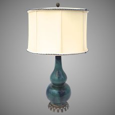 French Double Gourd Green Glazed Table Lamp