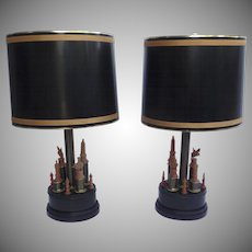 Pair of Mid Century Lamps Bases Chess Pieces