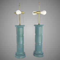 Pair of Regency Hollywood Faux Bamboo Style Wooden Lamps