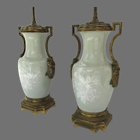 Pair of Pate sur Pate Celadon Ormolu Side Handles 19th Century Urns Now as Lamps