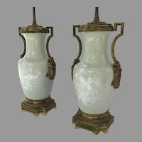 Pair of Pate sur Pate Celadon Ormolu Side Handles 19th Century Urns Now as Lamps