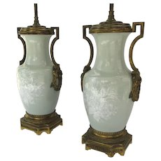 Pair of Pate sur Pate Celadon Ormolu Side Handles 19th Century
