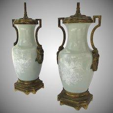 Pair of Pate sur Pate Celadon Ormolu Side Handles 19th Century