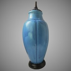 Large Pottery Blue  Matte Vase Now as a Lamp