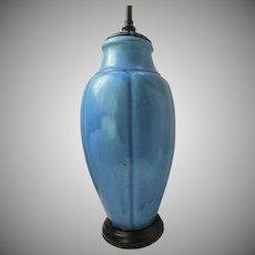 Large Pottery Blue  Matte Vase Now as a Lamp