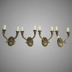 Set of 4 Vintage Vaughan Double Arm Bronze Sconces wtih Scroll and
