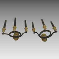 Pair of Vintage Three-Arm Wall Sconces with Lion and Snake Carved Detials and Gold Accents