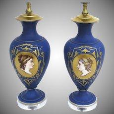 Pair of Porcelain Hand Painted Lamps Women Faces Portraits