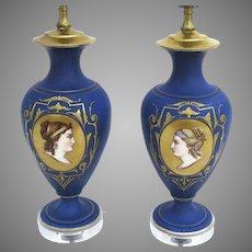 Pair of Porcelain Hand Painted Lamps Women's Faces Portraits