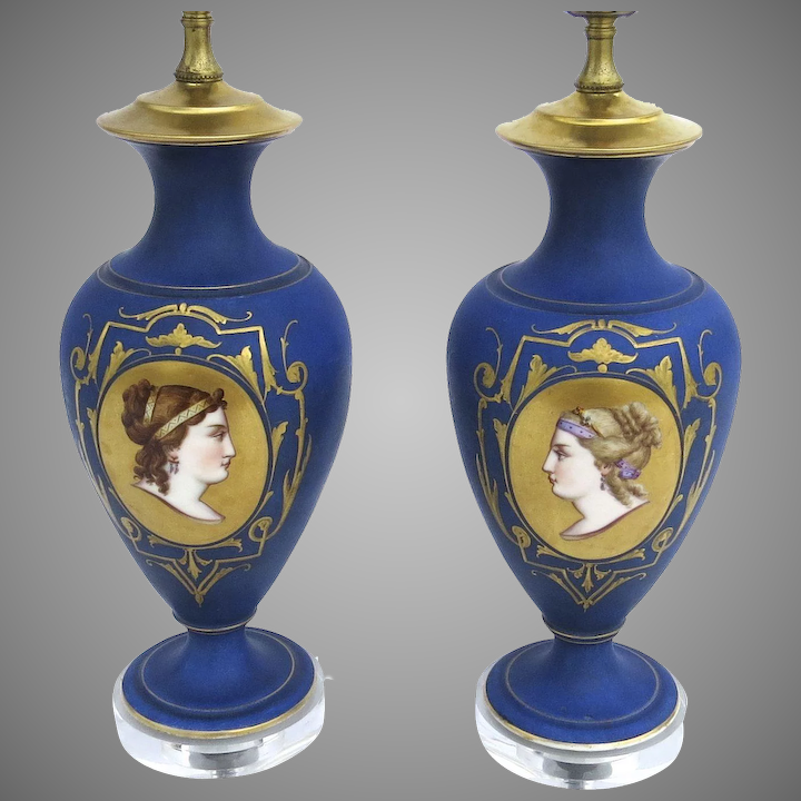 Pair Of Porcelain Hand Painted Lamps Women S Faces Portraits