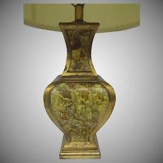 Vintage Retro Large Pottery Baluster Table Lamp  Lava Drip Enamel Finish Gold Yellow Gray, 1970