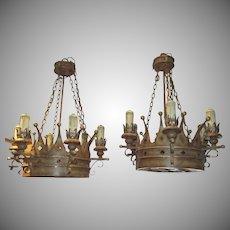 Vintage Pair of Crown Motif Chandeliers