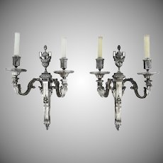 French Louis XVI two Arm Bronze Silver Plated Wall Sconces Acanthus Leaf and Urn with Pineapple Finial