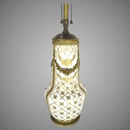 French Vincennes Lamp with Gilt Floral Porcelain with Bronze Gilded Mounts