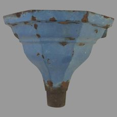 Cast Iron Robin's Egg Blue Painted Downspout c 1900 Planter Wall