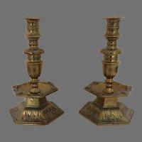 Pair Scandinavian Bronze 17th Century Candlesticks Hexagonal Bell Base and Drip Pans, Three Piece Construction