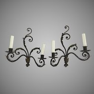 Pair of Vintage Older Wrought Iron Sconces Scrolls