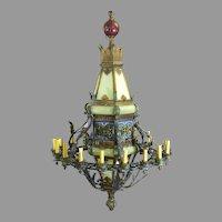 Gothic Revival Iron Polychrome Glass Monumental Huge 16 Light Chandelier Lantern