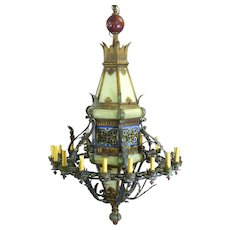 Gothic Revival Iron Polychrome Glass Monumental 16 Light Chandelier Lantern
