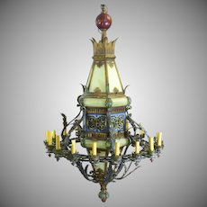 Gothic Revival Iron Polychrome Glass Monumental 16 Light Chandelier Lantern
