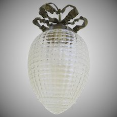 Vintage Glass Globe Ceiling Fixture with Bronze Bow Ribbon