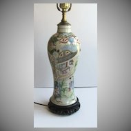 Famille Rose Vert Vase now as a Lamp